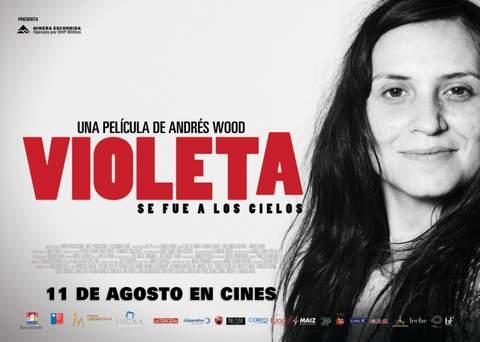 """Cartel de """"Violeta se fue a los cielos""""."""
