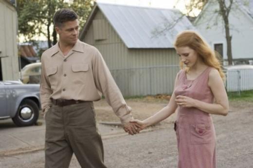 Brad Pitt y Jessica Chanstain pareja en la serie True Detective